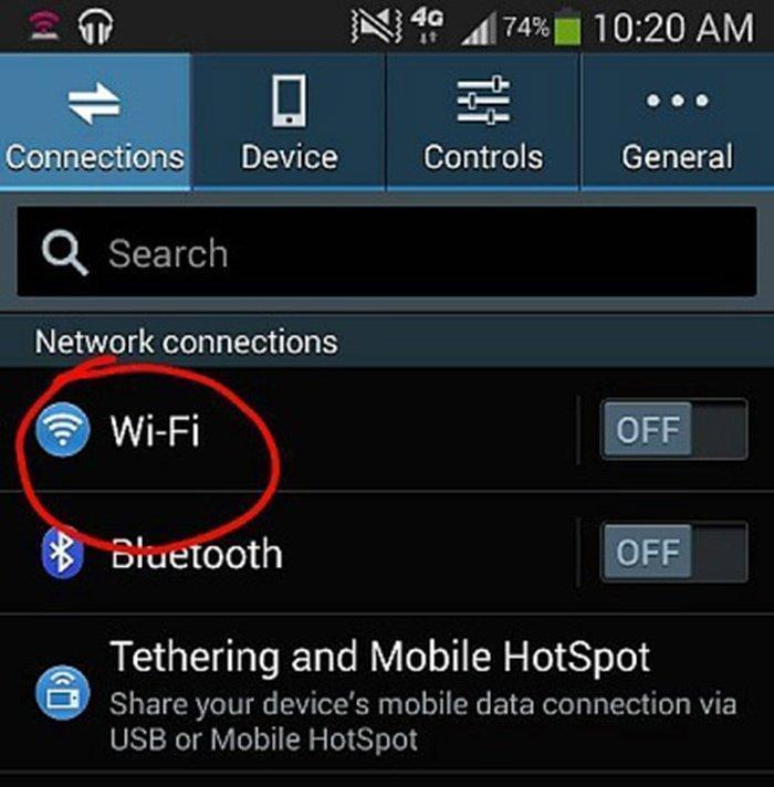 điện thoại không bắt được wifi
