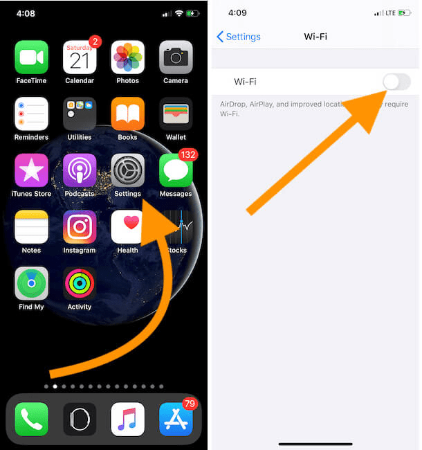 Làm mới kết nối Wifi của iPhone