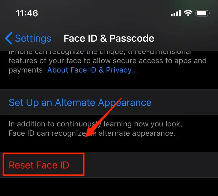Đặt lại Face ID (Reset Face ID)