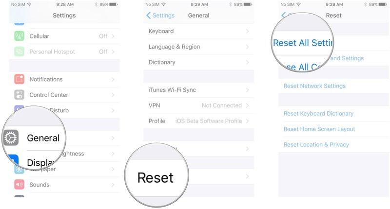 Đặt lại tất cả cài đặt để sửa lỗi Face ID không hoạt động