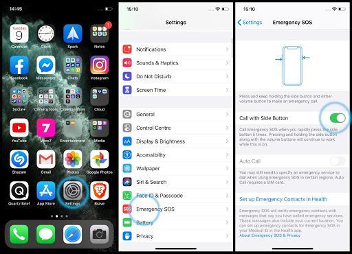 Nhấn nút nguồn 5 lần để tắt nguồn tắt nguồn iPhone Pro Max
