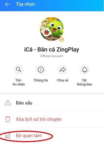 Tắt lời mời chơi game trên Zalo