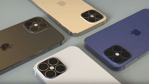 iPhone 12 với bốn màu sắc gồm Silver, Gold, Space Gray và Midnight Green
