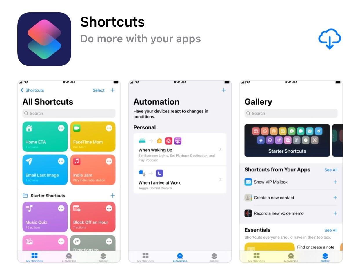 """Search (Tìm kiếm) từ """"Shortcuts"""" và tìm đến đúng ứng dụng như hình dưới."""