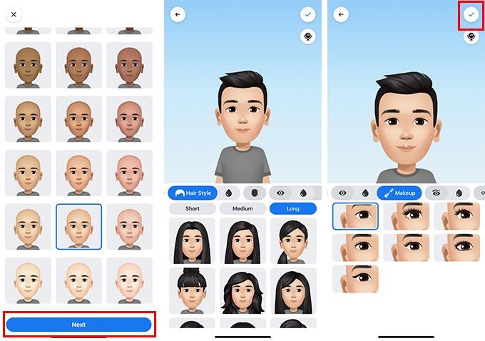Bạn chọn các đặc điểm khuôn mặt, làn da, kiểu tóc...