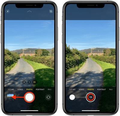 Nhấn và giữ nút chụp hoặc nút tăng/giảm âm lượng để chụp ảnh liên tục