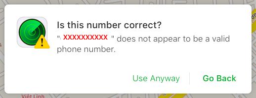 """Chọn """"Use Anyway"""" để xác minh số điện thoại của bạn"""