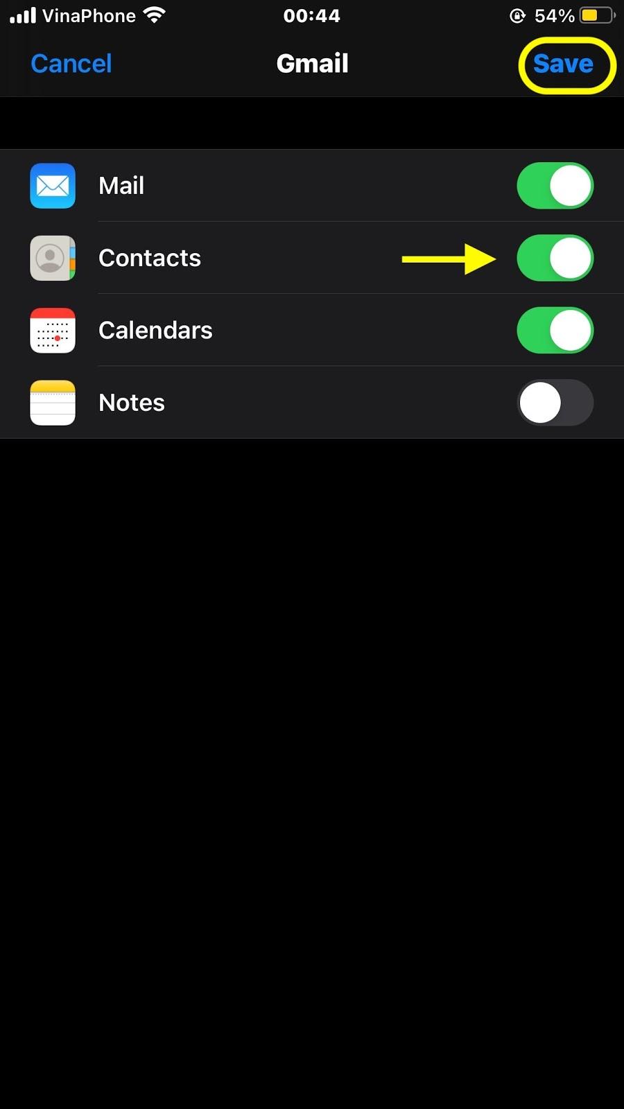 Nhấn vào Save (Lưu) sau khi bạn bật Contacts (Danh bạ)