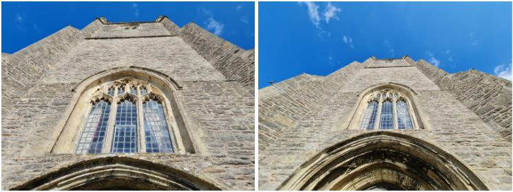 Ảnh chụp bằng camera Tiêu chuẩn (Standard) (trái) và camera Cực kỳ rộng (Ultra-wide) (phải)