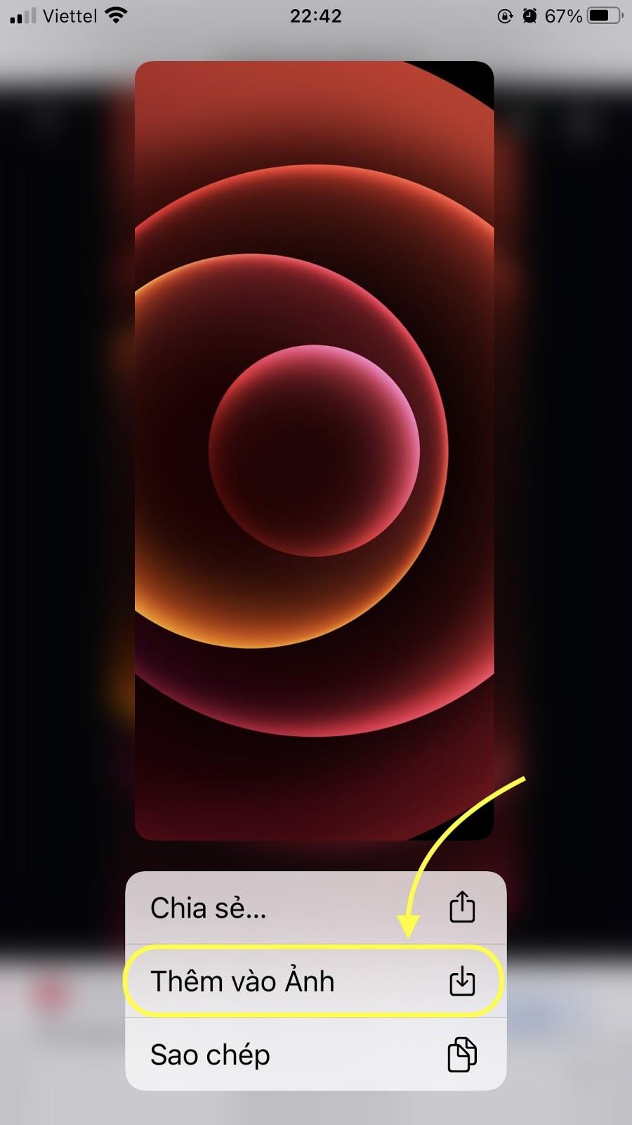 Nhấn Thêm vào ảnh để tải hình nền iPhone 12 về iPhone 11 Pro Max, iPhone 8, 8+
