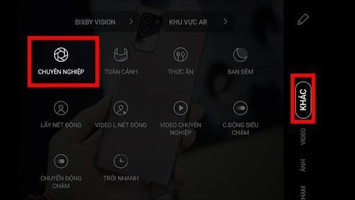 Chế độ chụp Chuyên nghiệp của Galaxy Note 20