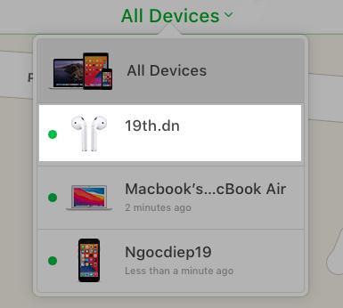 Nhấn vào tên AirPods từ All Devices (Tất cả thiết bị)