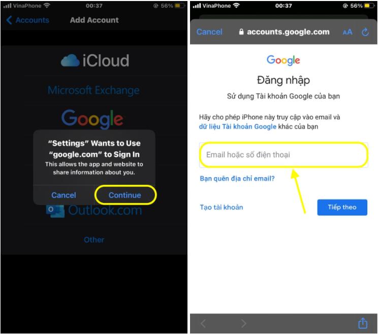 Điền chính xác tài khoản và mật khẩu Gmail của bạn